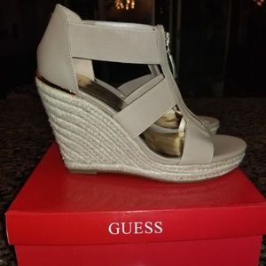 Tan Guess Wedges, size 8, Brand New